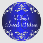 Royal Blue Silver Pearl Damask Sweet 16 Sticker