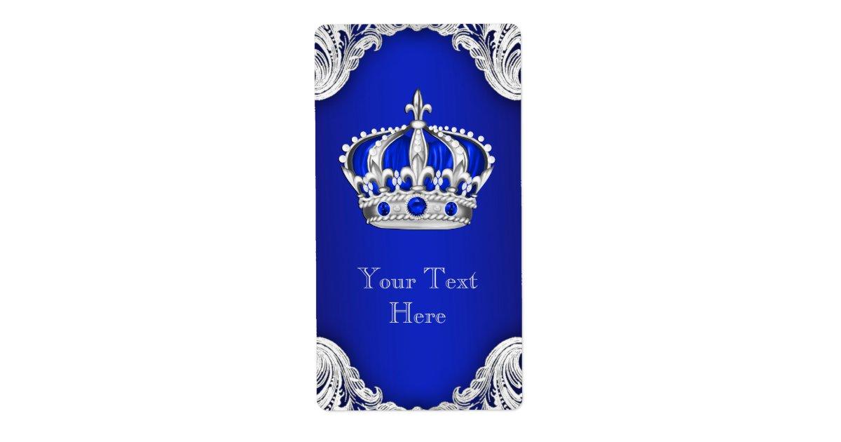 Royal Blue Silver Prince Crown Wine Bottle Label   Zazzle.com