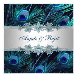 Royal Blue Silver Royal Indian Peacock Wedding 5.25x5.25 Square Paper Invitation Card