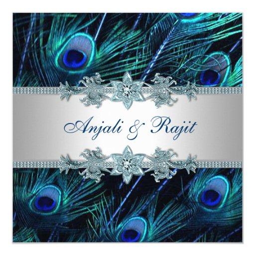 Silver Indian Wedding Invitation: Royal Blue Silver Royal Indian Peacock Wedding Invitation
