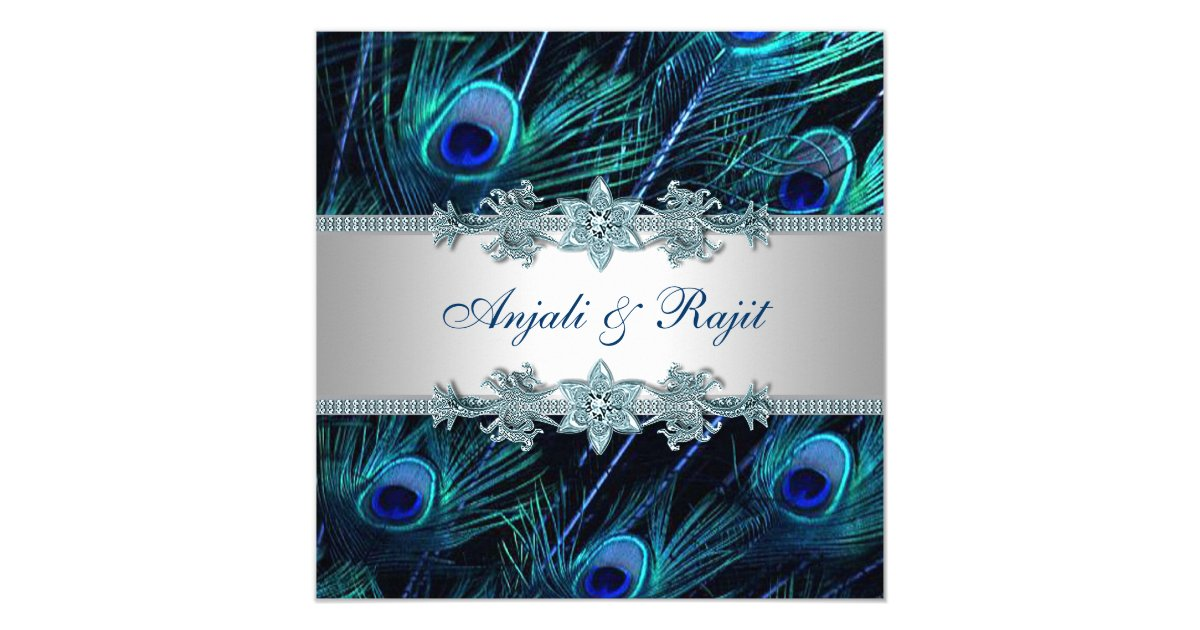 Wedding Invitations Royal Blue And Silver: Royal Blue Silver Royal Indian Peacock Wedding Invitation