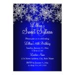 Royal Blue Silver Snowflake Sweet 16 Invitation