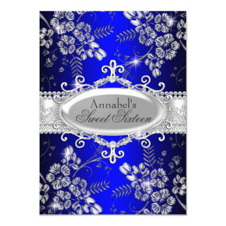 Royal Blue Silver Sparkle Flower Sweet 16 Invite