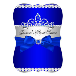 Royal Blue & Silver Sweet 16 Birthday Party Card