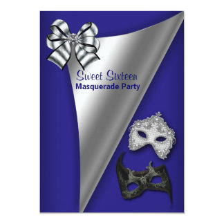 Royal Blue Silver Sweet Sixteen Masquerade Party Card