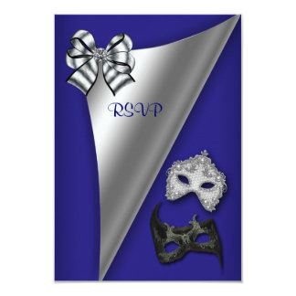 Royal Blue Silver Sweet Sixteen Masquerade Party Card