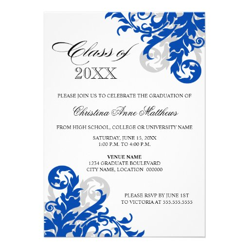 Royal Blue Silver Swirl Graduation Announcement (front side)