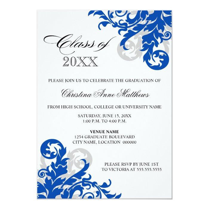 Royal Blue Silver Swirl Graduation Announcement