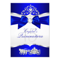 Royal Blue Silver Tiara Pearl Bow Quinceanera Card