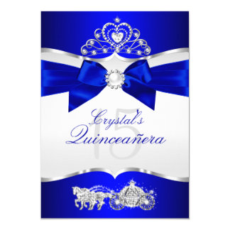 royal blue silver tiara pearl bow quinceanera card - Royal Blue Quinceanera Invitations
