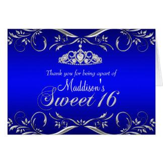 Royal Blue & Silver Tiara Sweet 16 Thank You Card