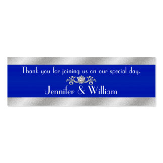Royal Blue & Silver Tone Custom Wedding Favor Tags Double-Sided Mini Business Cards (Pack Of 20)