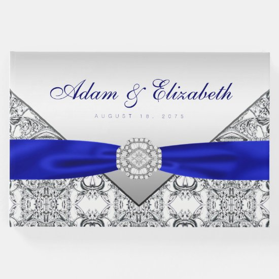 Royal Blue Silver Wedding Guest Book