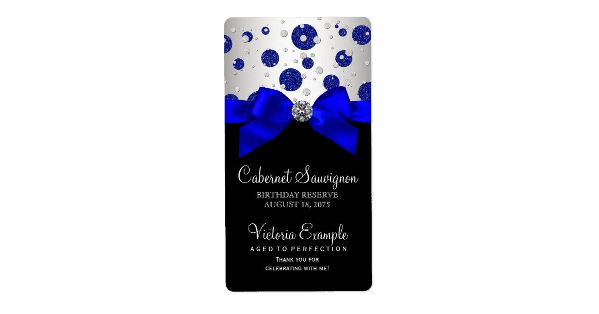 Royal Blue Silver Wine Bottle Labels | Zazzle.com