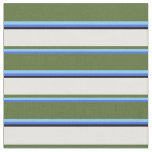 [ Thumbnail: Royal Blue, Sky Blue, Olive Green, White & Black Fabric ]