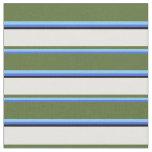 [ Thumbnail: Royal Blue, Sky Blue, Olive Green, White & Black Fabric ]