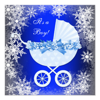 Royal Blue Snowflake Winter Wonderland Baby Shower Card