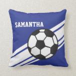 Royal Blue Soccer Ball Stripes Throw Pillow