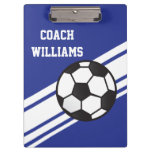 Royal Blue Soccer Coach Personalized Clipboard Clipboard