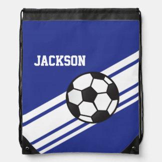 Royal Blue Soccer Stripes Drawstring Backpack