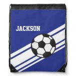 Royal Blue Soccer Stripes Drawstring Bag