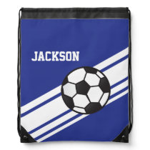Royal Blue Soccer Stripes Drawstring Bag