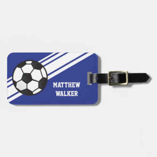 Royal Blue Soccer Stripes Personalized Luggage Tag