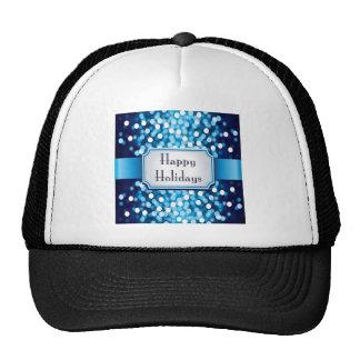 Royal Blue Sparkle Happy Holidays Trucker Hat