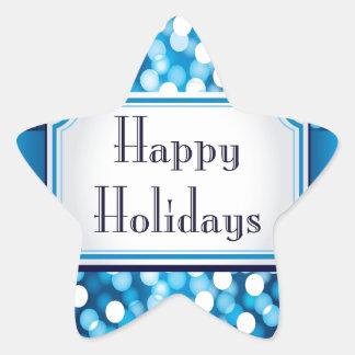 Royal Blue Sparkle Happy Holidays Star Sticker