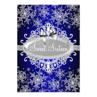 Royal Blue Sparkle Snowflake Sweet 16 Invite