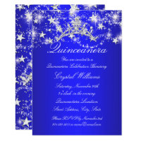 Royal Blue Sparkle Tiara Stars Quinceanera Card