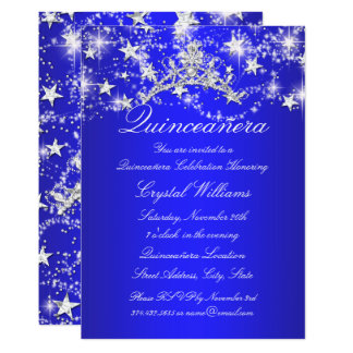 Royal Blue Sparkle Tiara Stars Quinceanera Card