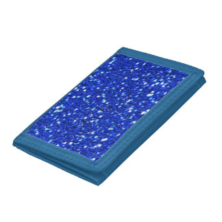 Royal Blue Sparkly Faux Glitter Look Trifold Wallets