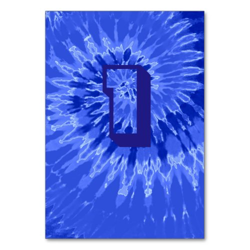 Royal Blue Spiral Tie Dye Wedding Table One Table Number