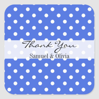 Royal Blue Square Custom Polka Dotted Thank You Square Sticker