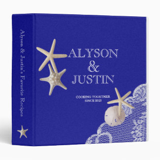Royal Blue Starfish and Sand Dollar Recipes 3 Ring Binder