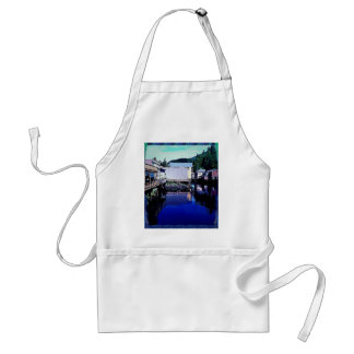 Royal Blue Stream Through Town Reflection Adult Apron