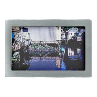 Royal Blue Stream Through Town Reflection Belt Buckle