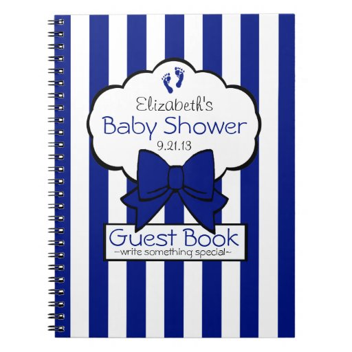 Royal Blue Striped Baby Shower Guest Book- Notebook
