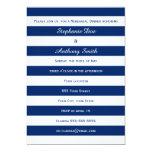 "Royal Blue Striped Rehearsal Dinner 5"" X 7"" Invitation Card"