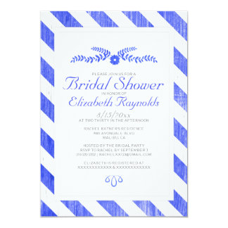 Royal Blue Stripes Bridal Shower Invitations