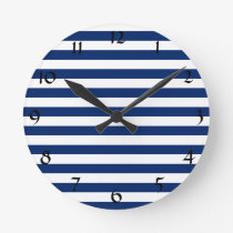 Royal Blue Stripes Pattern Round Clock
