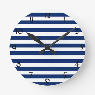 Blue Stripe Wall Clocks Zazzle