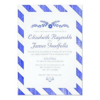 Royal Blue Stripes Wedding Invitations