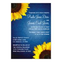 Royal Blue & Sunflower Wedding Invitation