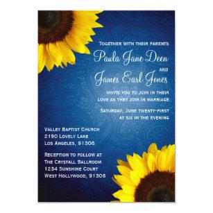 Sunflower wedding invitations announcements zazzle royal blue sunflower wedding invitation filmwisefo