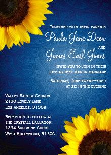 Royal Blue Sunflower Wedding Invitation