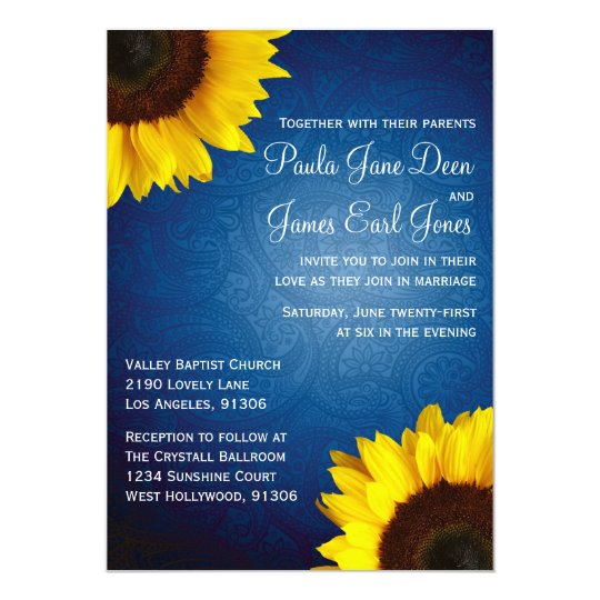 Royal Blue Sunflower Wedding Invitation Zazzle Com