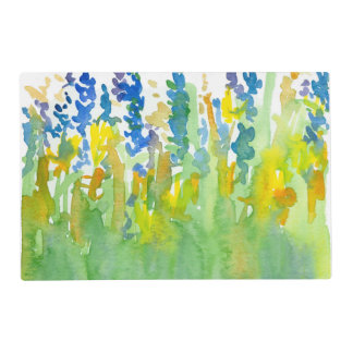 Royal Blue Sunshine Yellow Watercolor Flowers Placemat