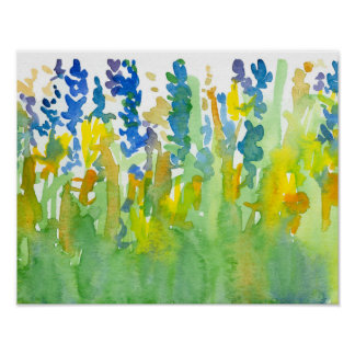 Royal Blue Sunshine Yellow Watercolor Flowers Poster